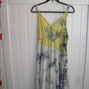 Boho Yellow, Blue and White Lined Tie-Dye Dress
